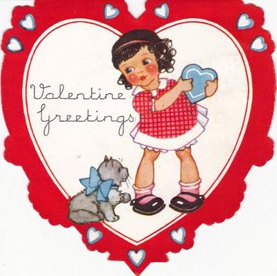 vintage valentine girl and cat